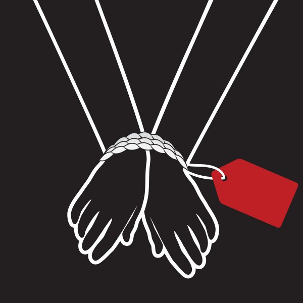 animated hands tied up because of human trafficking