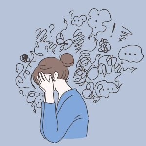animated woman with thought and scribbles around her head questioning if she is depressed