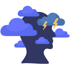 animated face with blue clouds around them as they think about self-harming