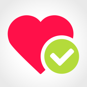 a love heart with a green tick for healthy sexual relationships