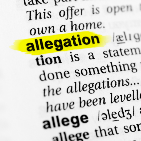 allegation highlighted in the dictionary and its definition along with managing allegations