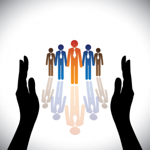 Animated hands stretching out to five different coloured adults stickmen