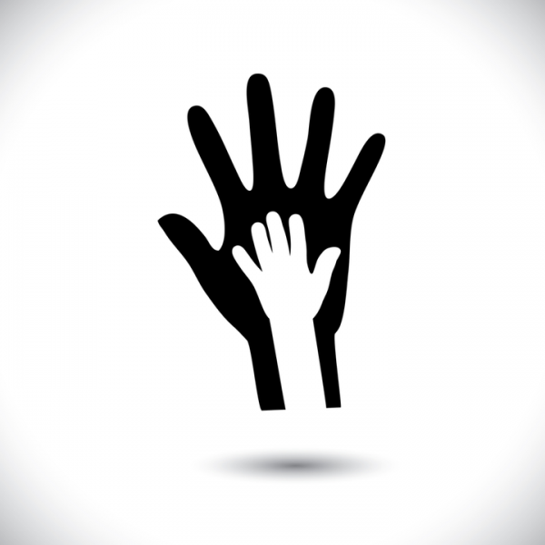 An animated big hand with a smaller one laid on top signifying child protection