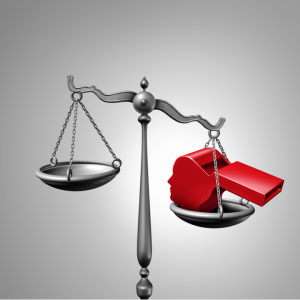 a balancing scale with a red whistle to signify whistleblowing