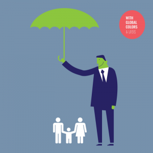 animated man in a suit with a green umbrella over two adults with a child to signify safeguarding children in work practice