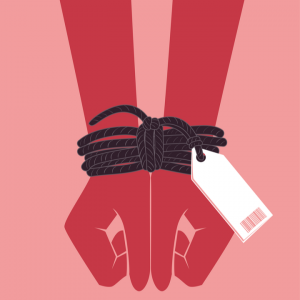 animated hands tied up due to trafficking or slavery